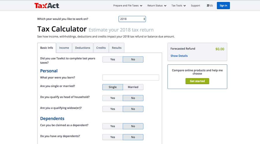 tax income calculator