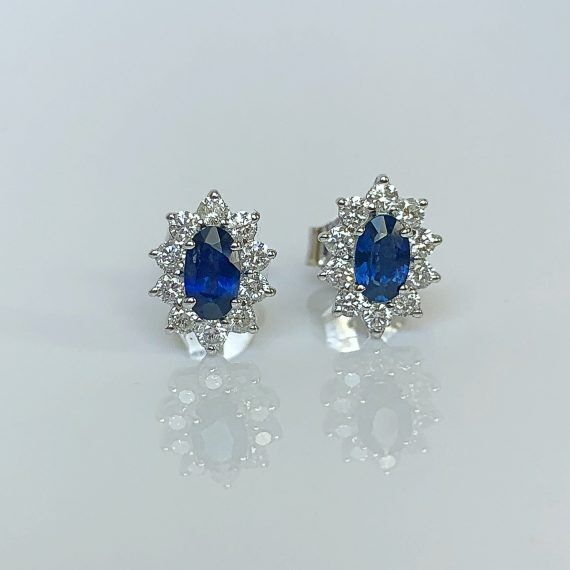 Sapphire & Diamond Marquise Cluster Earrings