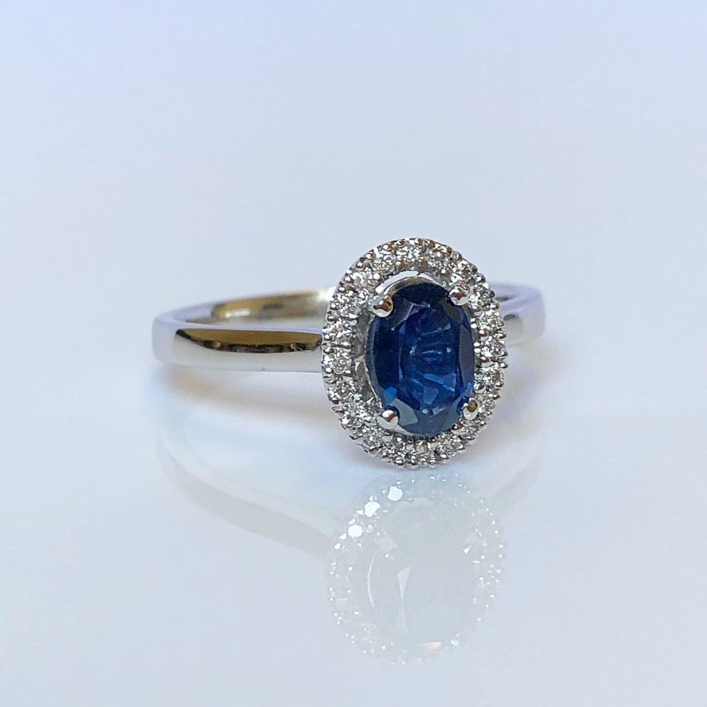 18ct White Gold, Sapphire & Diamond Cluster Ring