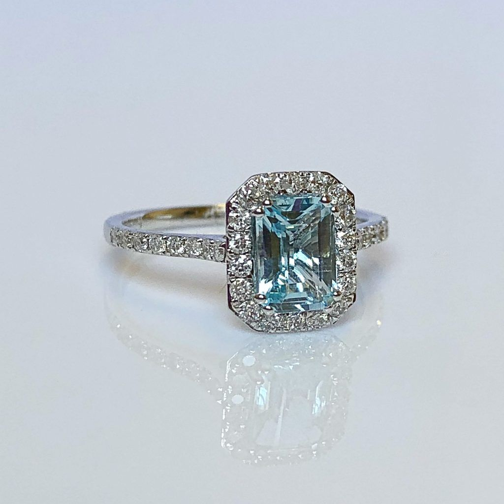 18ct White Gold, Aquamarine & Diamond Cluster Ring