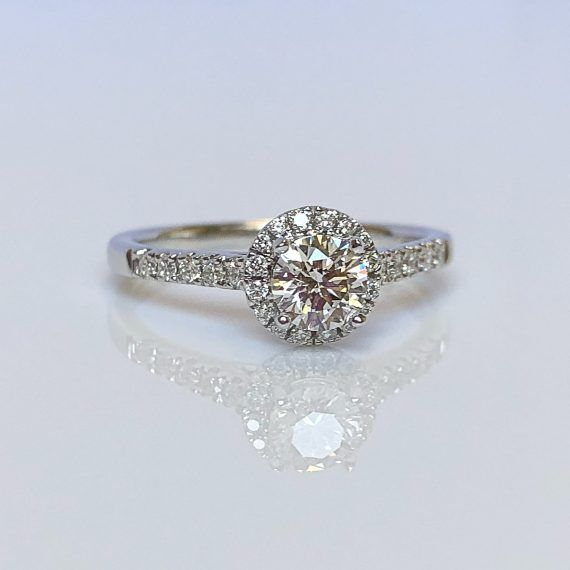18ct White Gold & Diamond Halo Cluster Ring