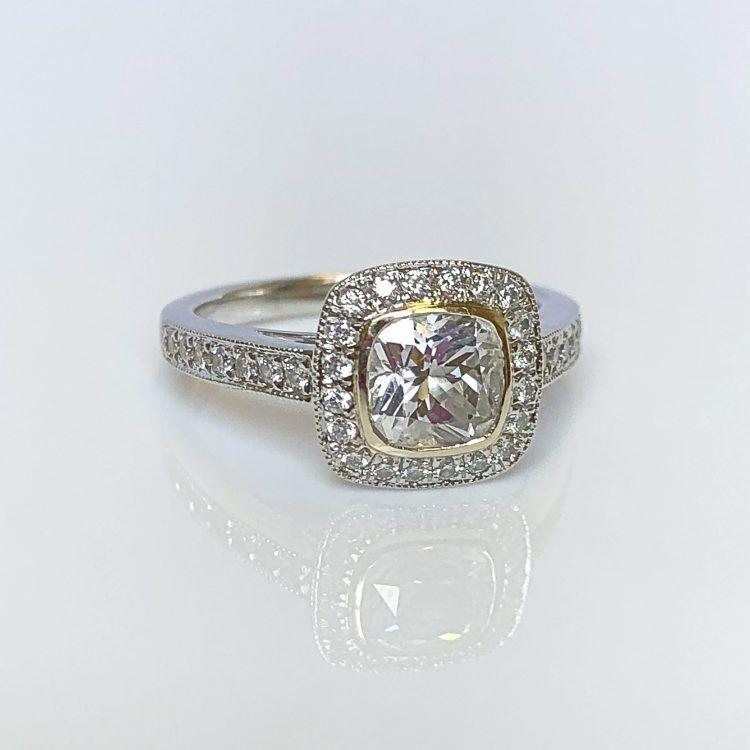 18ct White & Yellow Gold, 1.34ct Diamond Halo Engagement Ring