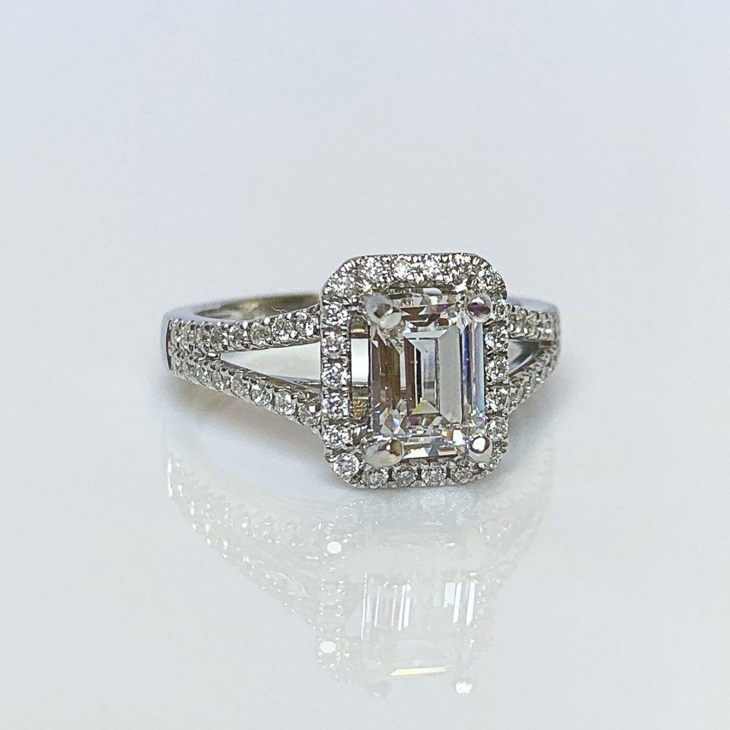 18ct White Gold & Emerald Cut Diamond Halo Cluster Ring