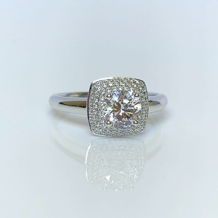 18ct White Gold & 0.99ct Diamond Triple Halo Engagement Ring
