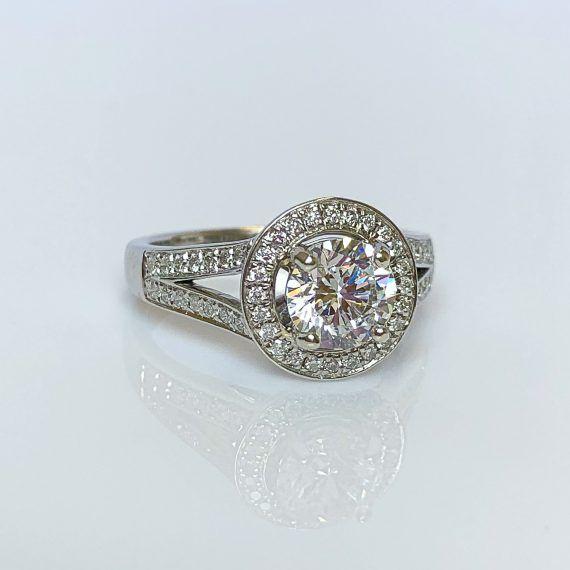 18ct White Gold & Diamond Split Shoulder Halo Ring