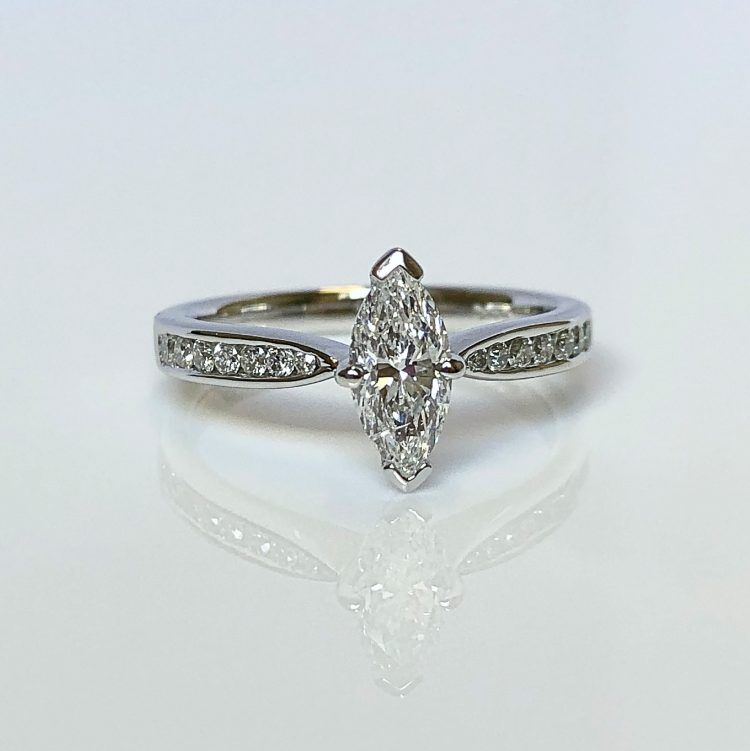18ct White Gold & 0.54ct Marquise Cut Diamond Solitaire Engagement Ring