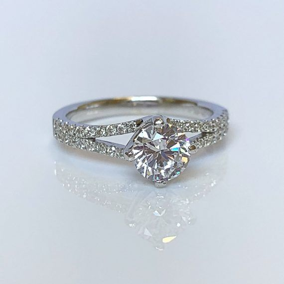 18ct White Gold & Diamond Fancy Solitaire Ring