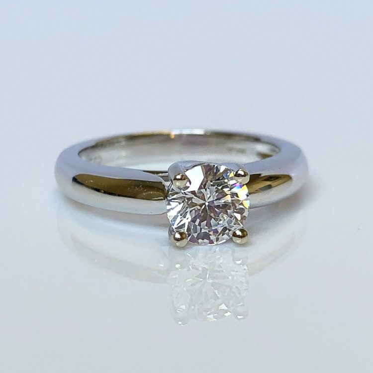 18ct White Gold & 0.80ct Diamond Solitaire Engagement Ring
