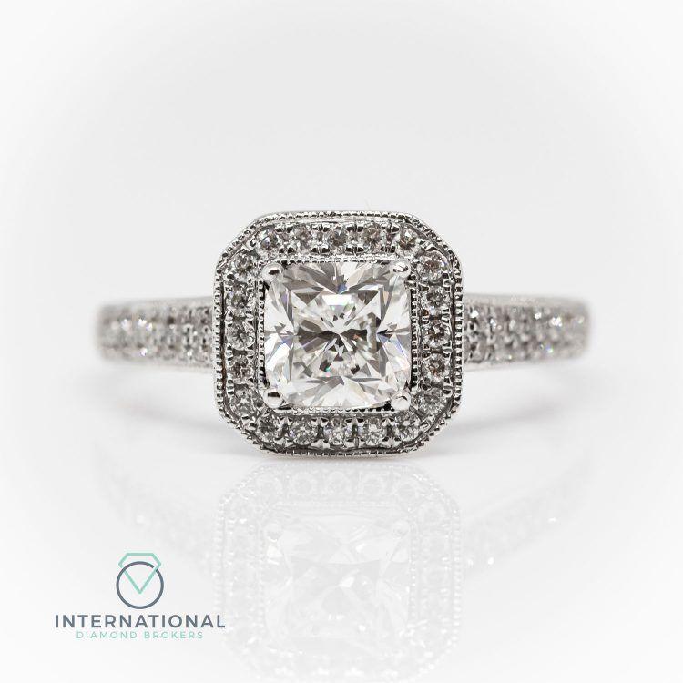 18ct White Gold & 1.02ct Cushion Cut Diamond Halo EngagementRing