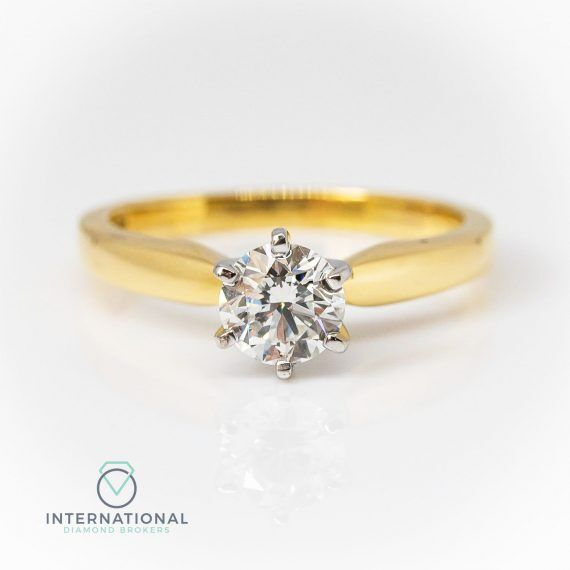 YG 6 Claw Diamond Solitaire