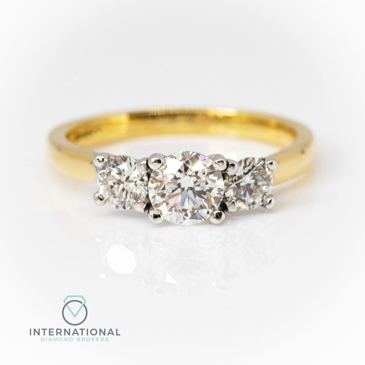 18ct Yellow Gold, 1.10ct Diamond Trilogy Engagement Ring