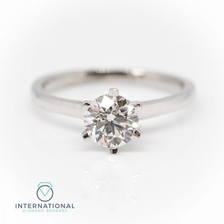 18ct White Gold & 0.89ct Diamond 6 Claw Solitaire Engagement Ring