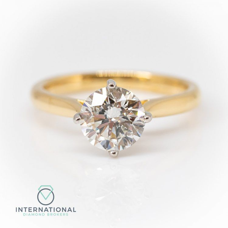 18ct Yellow Gold & 1.54ct Diamond 4 Claw Solitaire Engagement Ring