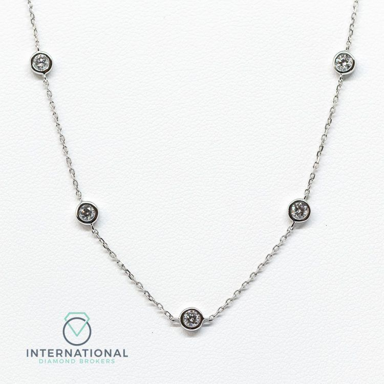 18ct White Gold 0.70ct Diamond Chain Necklace