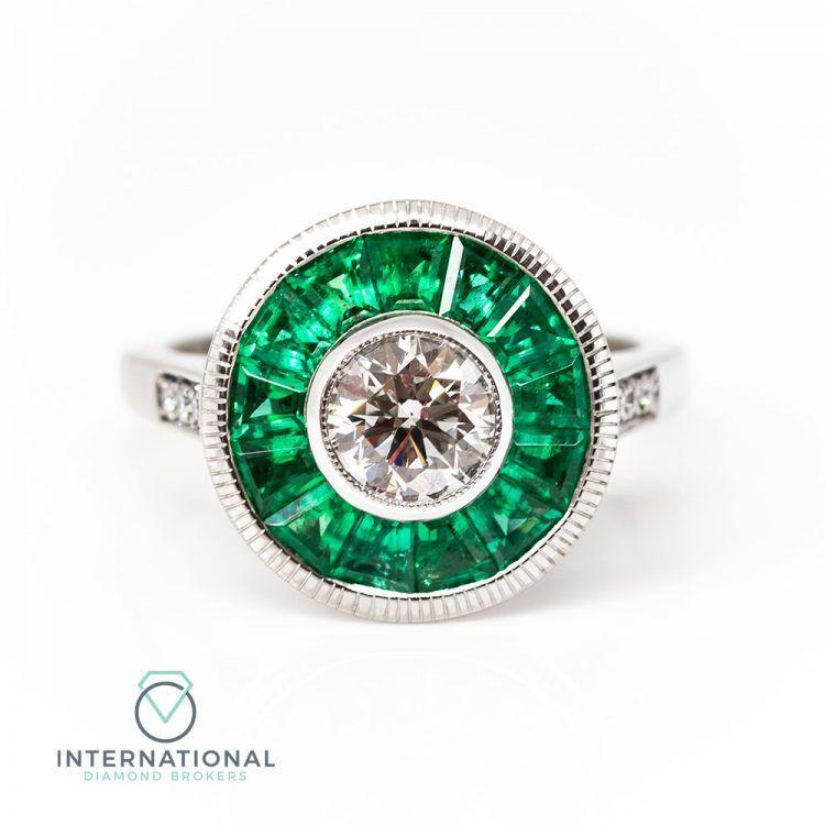 18ct White Gold Emerald & Diamond Target Engagement Ring