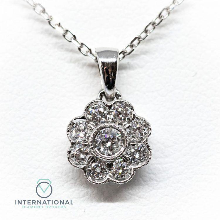 18ct White Gold 0.22ct Diamond Flower Cluster Pendant & Chain