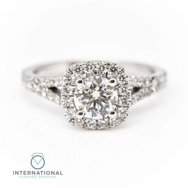 18ct White Gold & 1.26ct Diamond Halo Engagement Ring