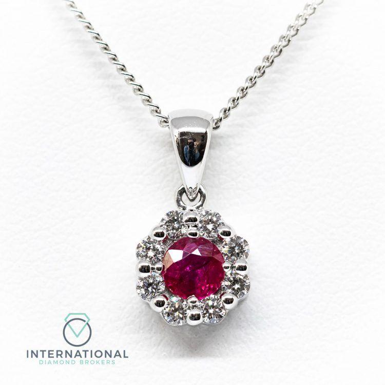 18ct White Gold 0.50ct Ruby & Diamond Round Cluster Pendant & Chain
