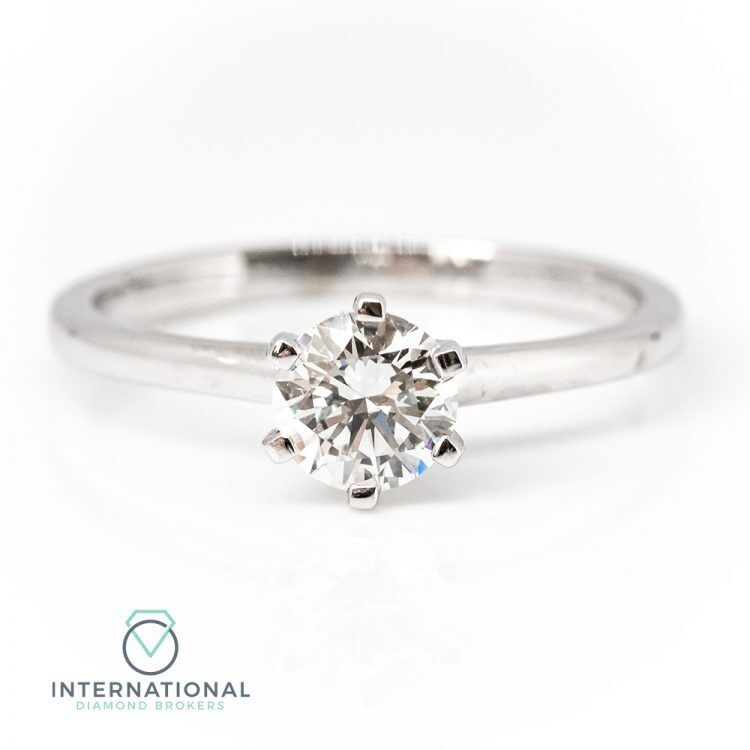 18ct White Gold & 0.63ct Diamond 6 Claw Solitaire Engagement Ring