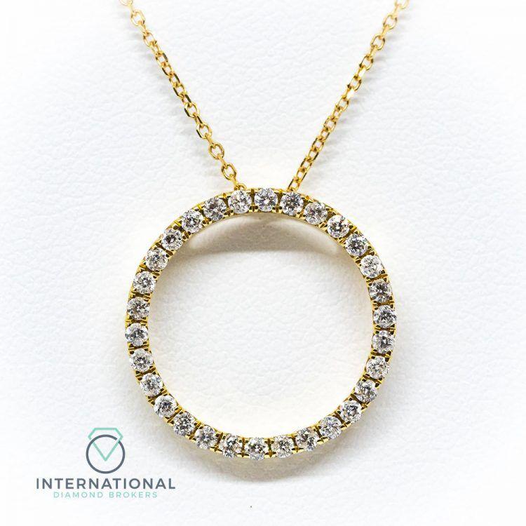 18ct Yellow Gold 0.50ct Diamond Circular Pendant & Chain