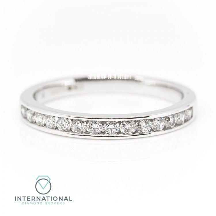 18ct White Gold 0.33ct Diamond Channel Set Half Eternity Ring