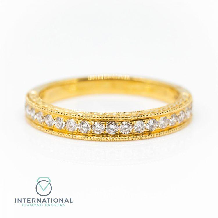 18ct Yellow Gold 0.30ct Diamond Patterned Half Eternity Ring