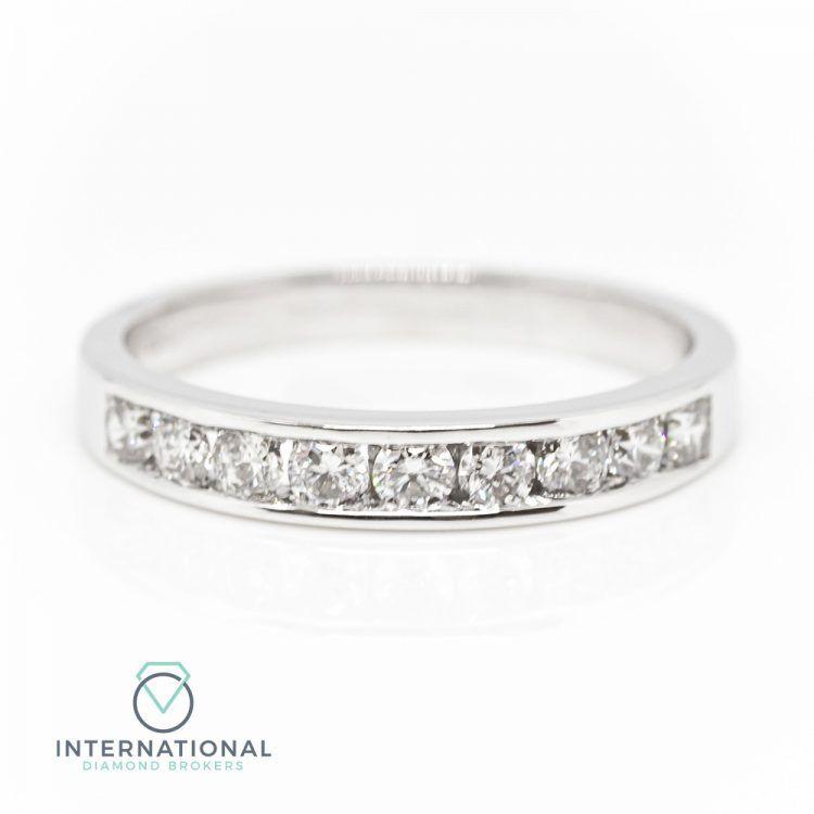 18ct White Gold 0.50ct Diamond Channel Set Half Eternity Ring