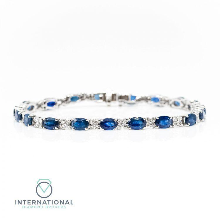 18ct White Gold, Sapphire & Diamond Tennis Bracelet
