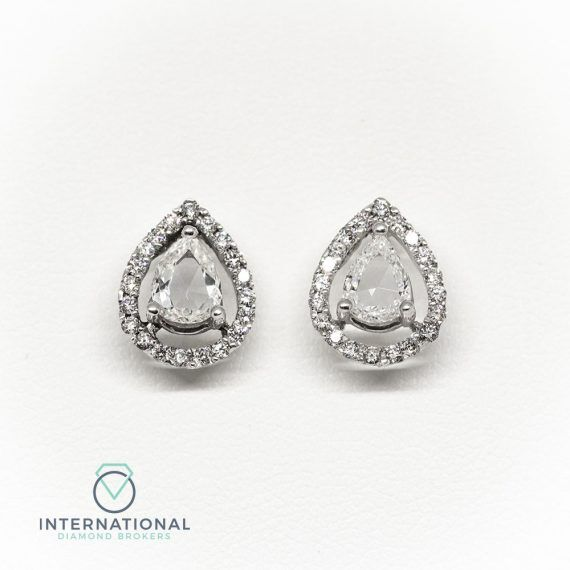 ER Rose Cut Pear Dia Studs – A