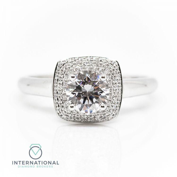 18ct White Gold & 0.99ct Diamond Triple Halo Engagement Ring