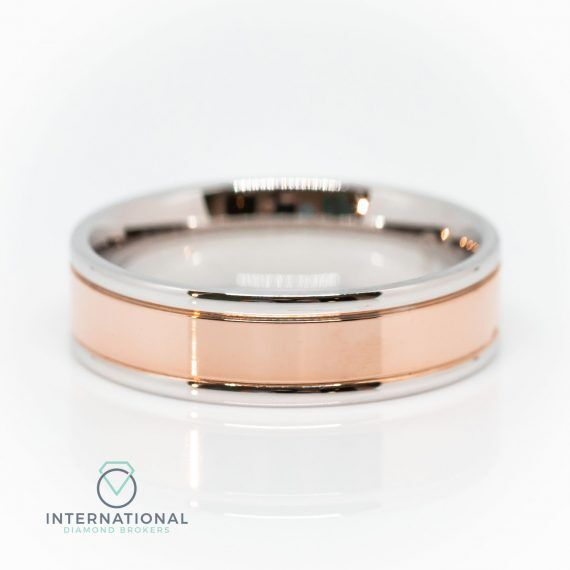 Gents RG Centre WG Polished Band