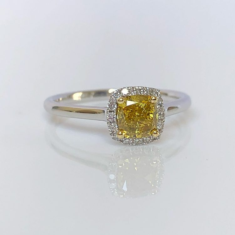 18ct White & Yellow Gold, 0.70ct Fancy Diamond Halo Engagement Ring