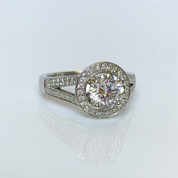 18ct White Gold & Diamond Split Shoulder Halo Ring