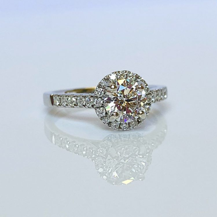 18ct White Gold & 1.06ct Diamond Halo Engagement Ring