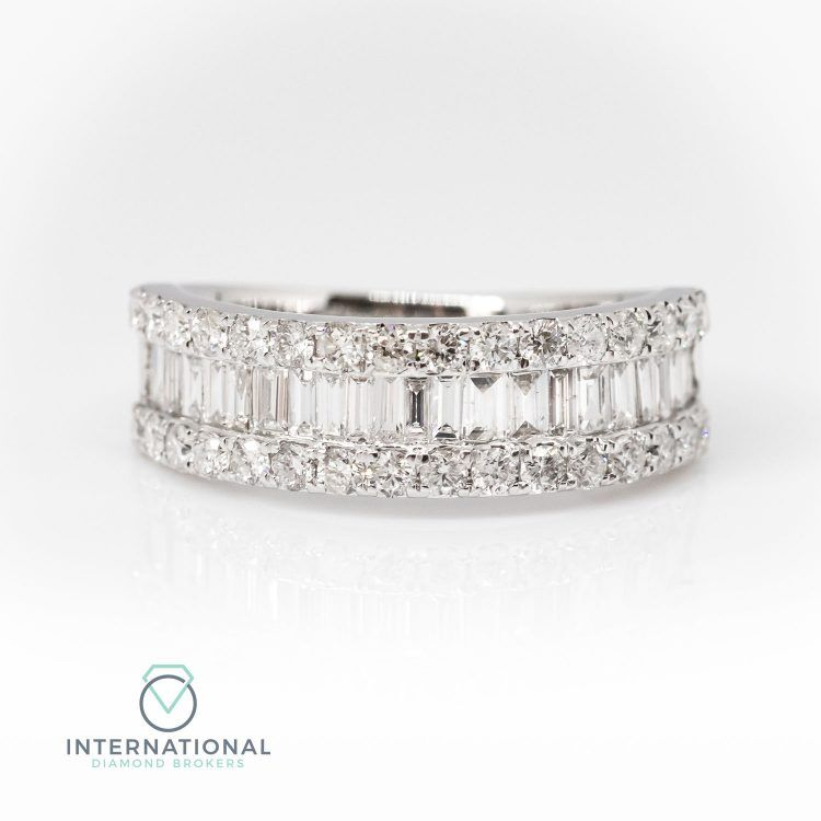 18ct White Gold 1.00ct Mixed Cut Diamond Half Eternity Ring