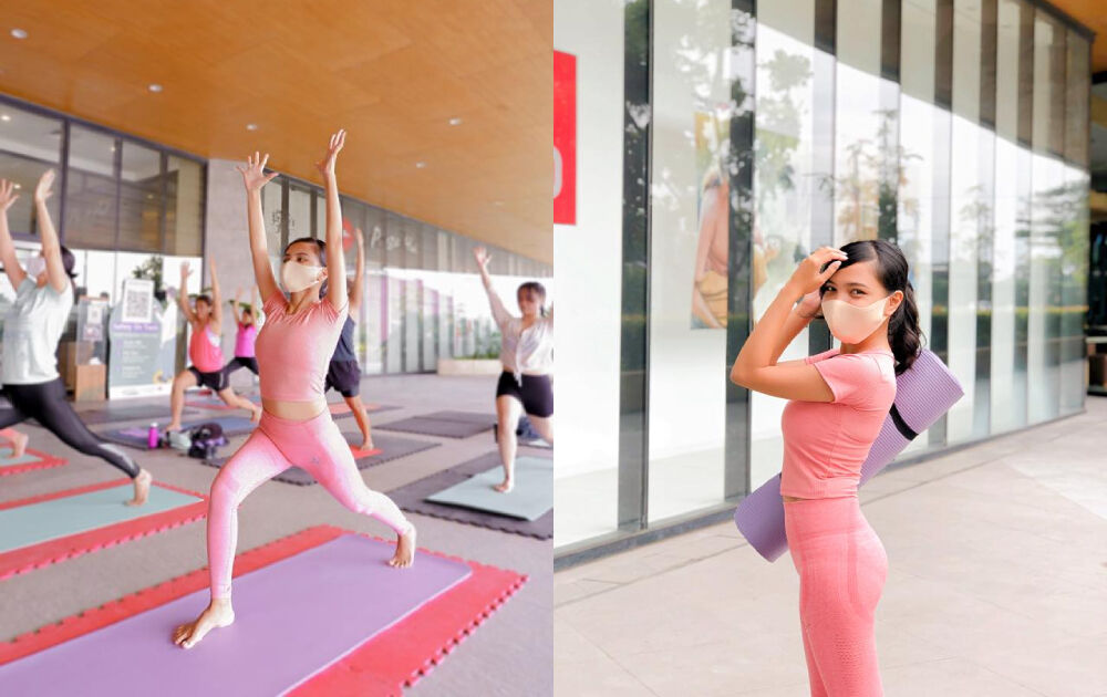 Bella Angeles tries yoga at Southwoods Mall
