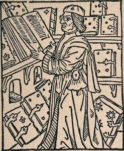 The scholar, Periander in his library with printed text