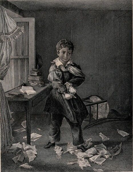A young boy standing in a room tearing up books and papers. Engraving W.C. Wrankmore after C. Wrankmore.