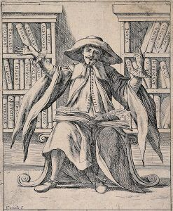 An omniscient virtuoso gestures boastfully at all the knowledge that lies available to him. Etching by G.M. Mitelli, c. 1700.