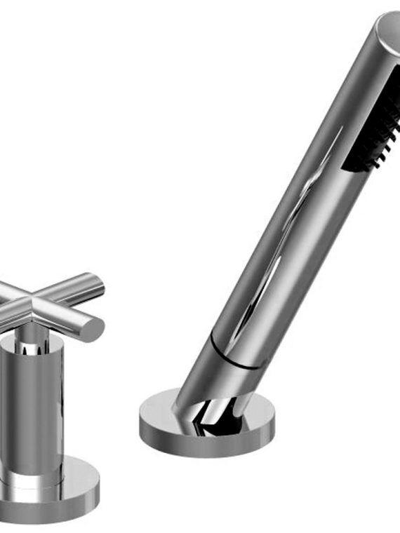 FV133:59.0. Deck mounted Roman diverter valve and handshower assembly 1