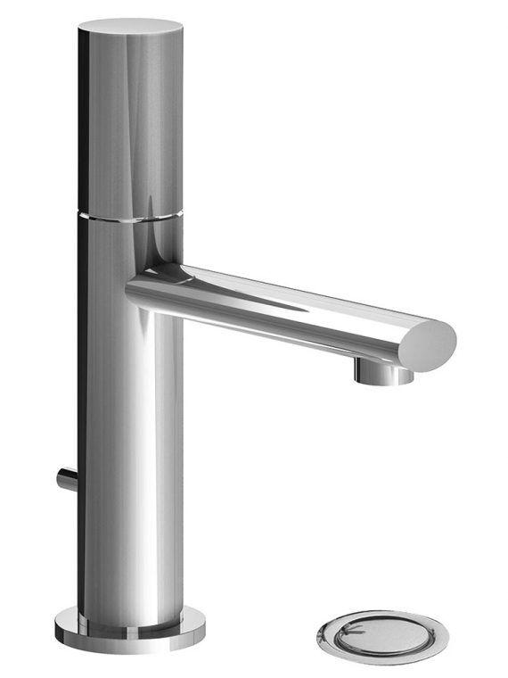FV182:59P. Single handle lavatory set, plain cylinder handle, with pop-up drain assembly 2