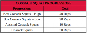 Cossack squat progressions