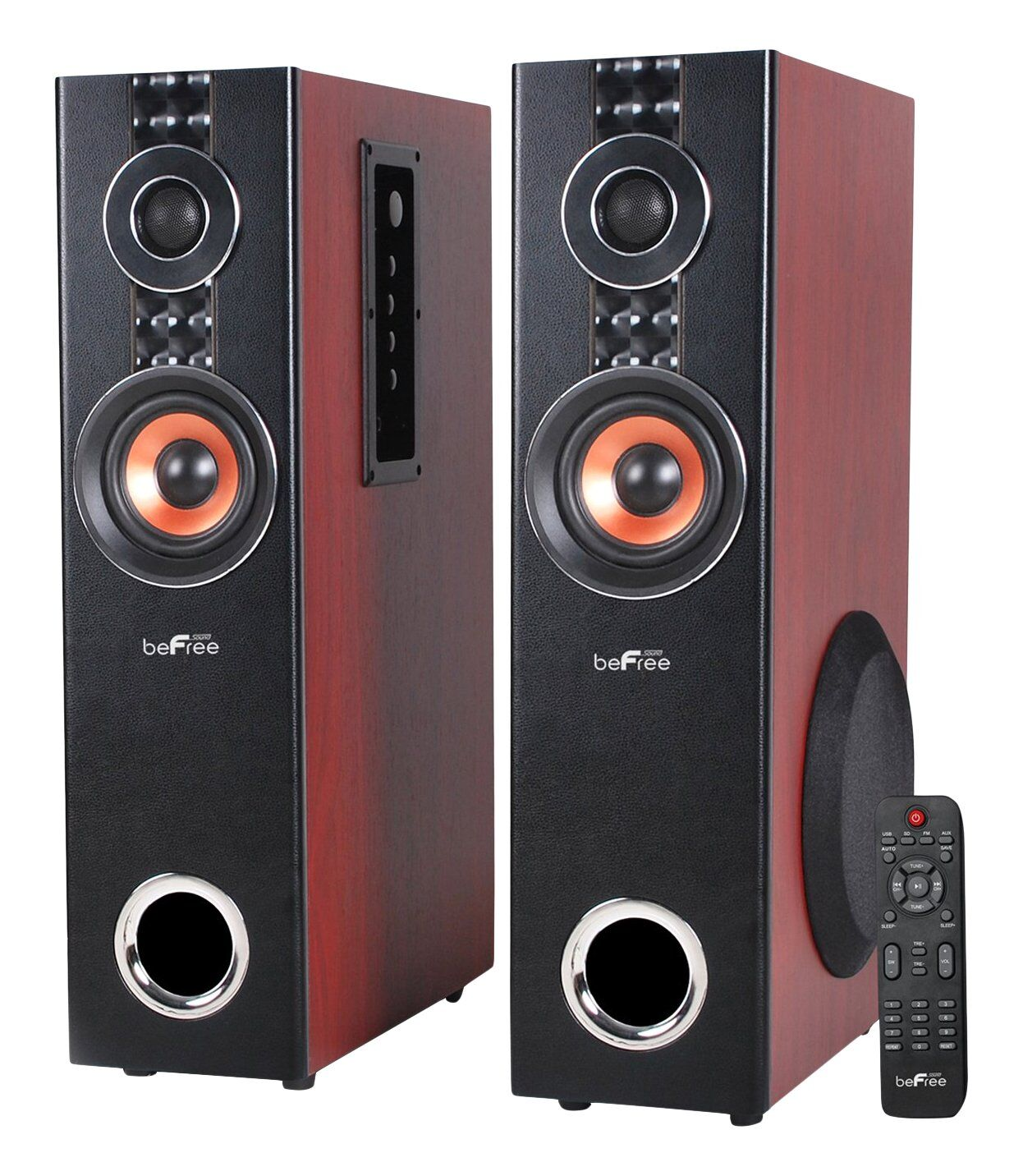 BeFree Sound BFS-T110W Bluetooth Dual Wood Tower Speakers