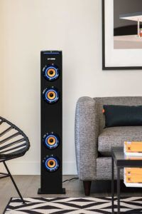 Wall Powered Bluetooth Tower Speaker with Lights