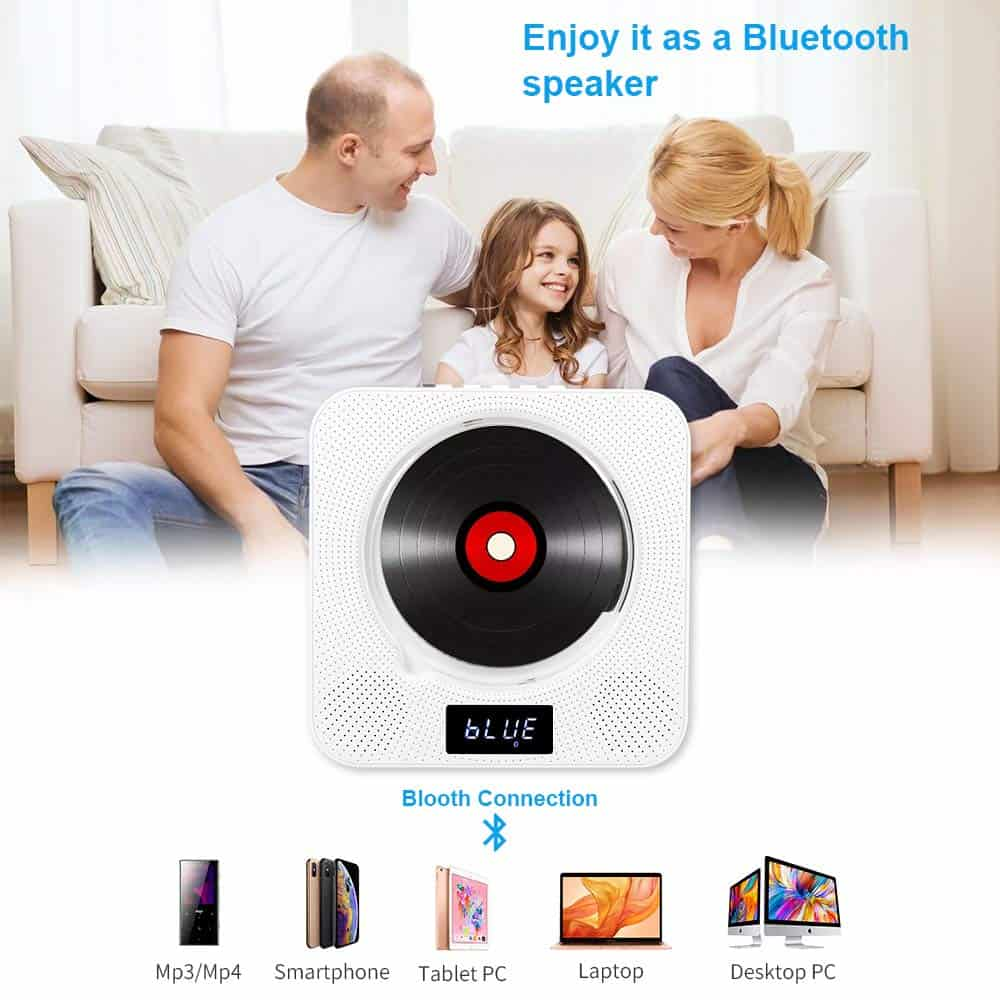 Rayrow Wall Mountable DVD Bluetooth Player with Built-in HiFi Speakers