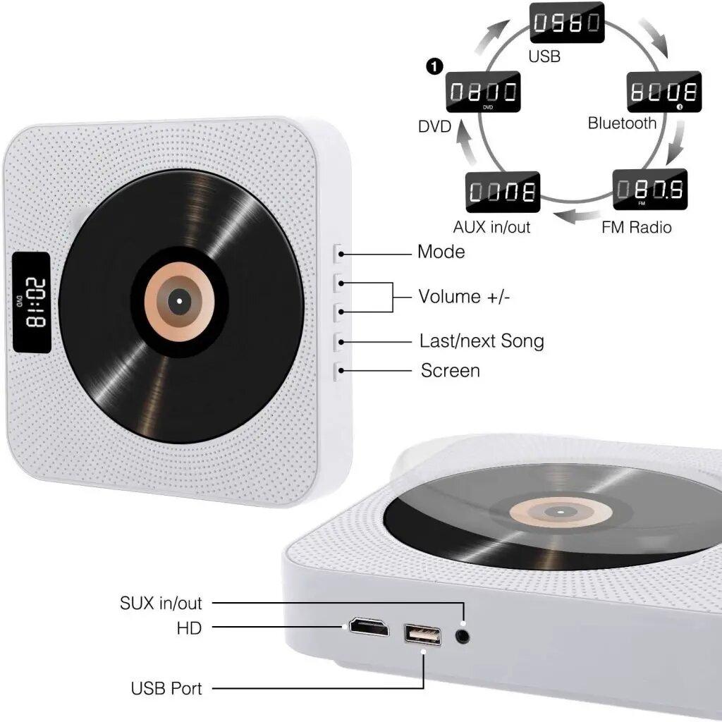 YACEG Portable Bluetooth DVD/CD Player