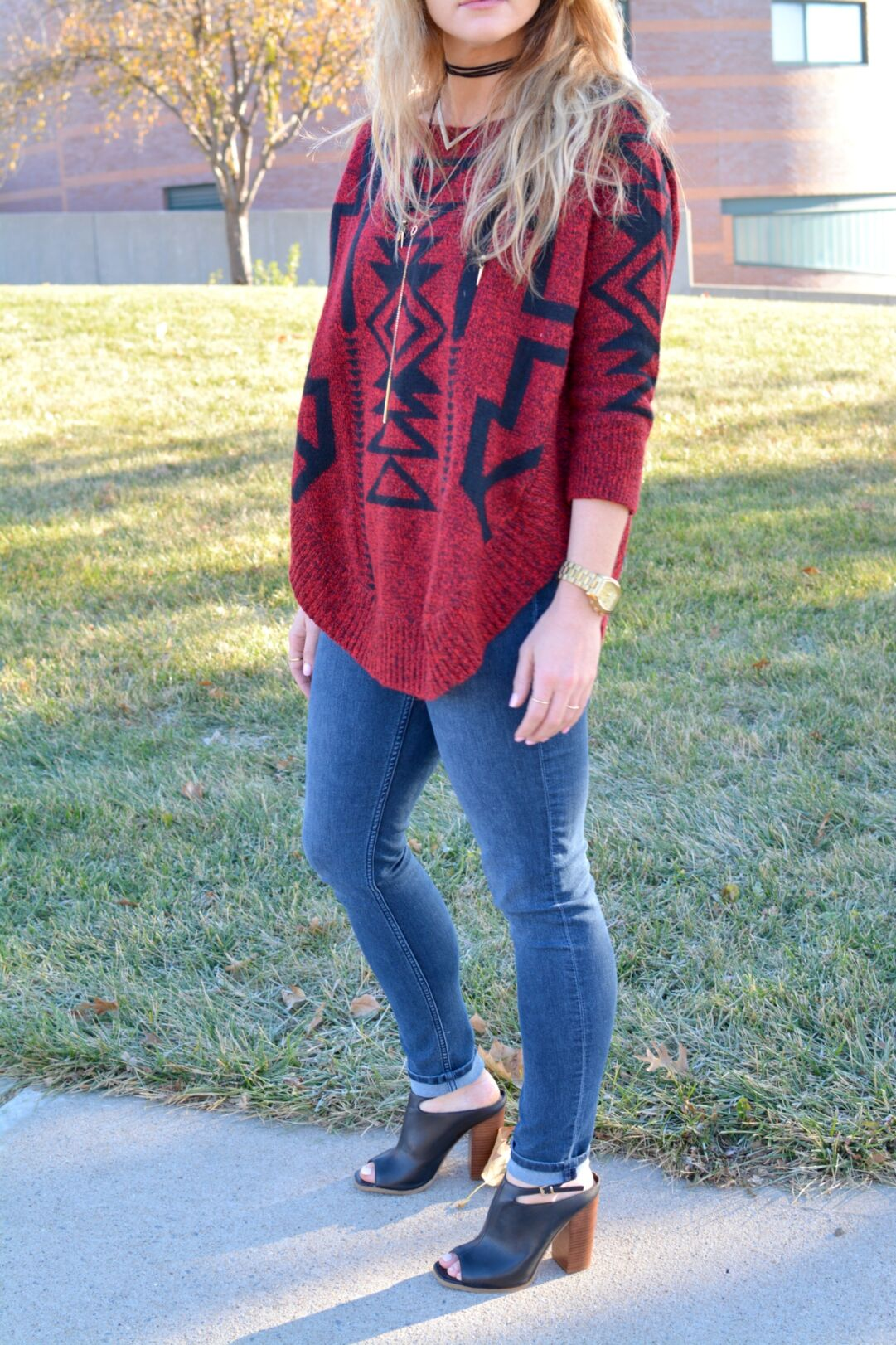 83578b3d40 Ashley from LSR in a red and black sweater with leather mules