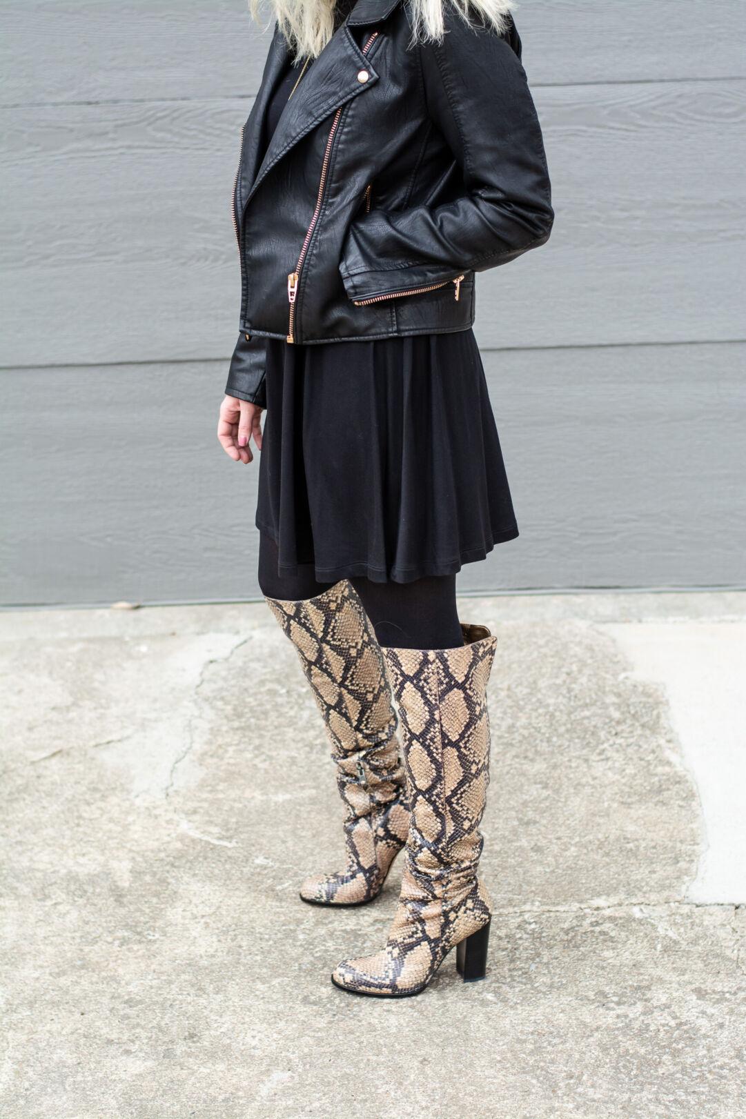 abfc95585d6 Black Moto Jacket + Snakeskin Boots.
