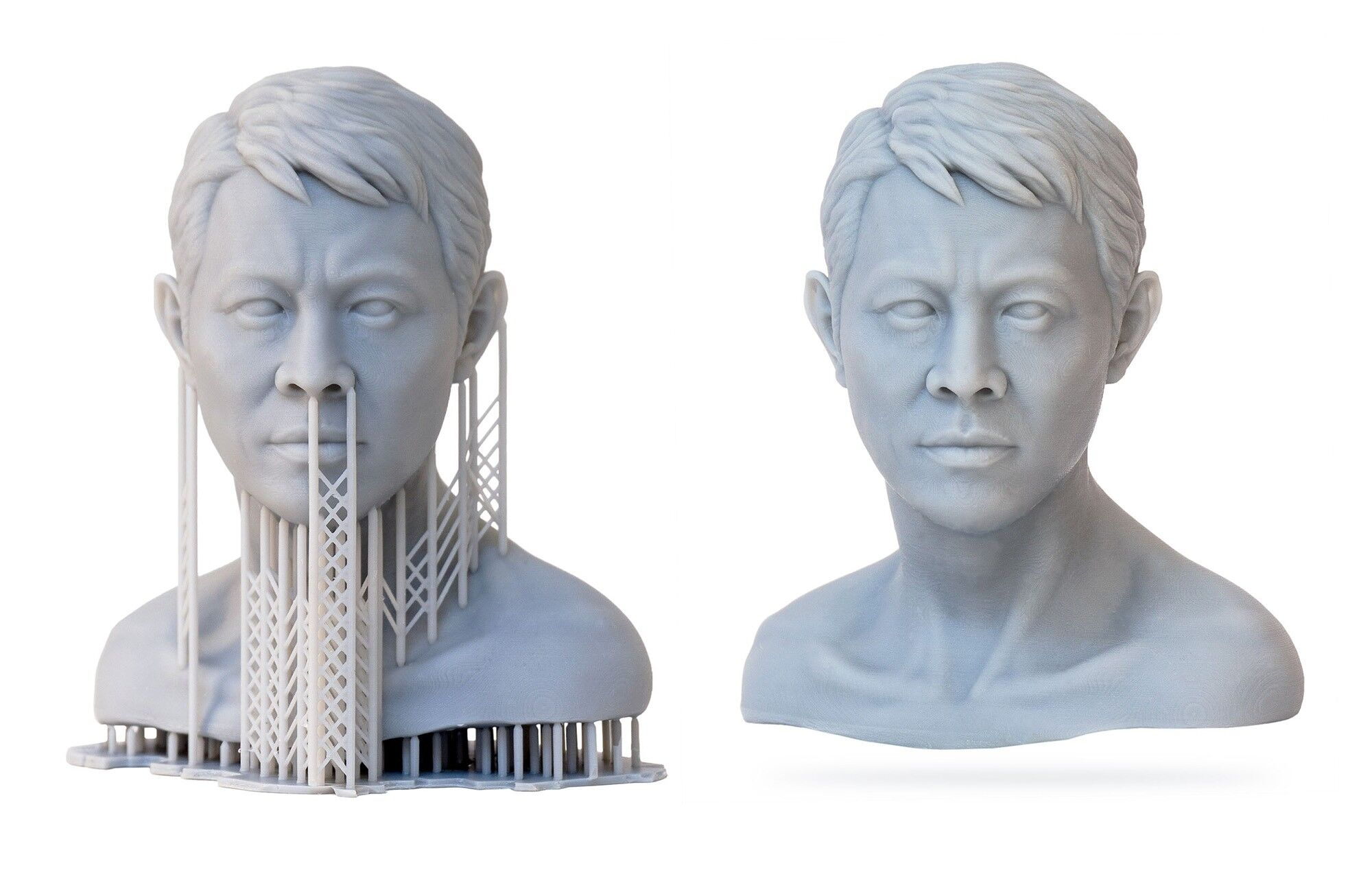 A bust printed on the MoonRay 3D printer in super-fine resolution