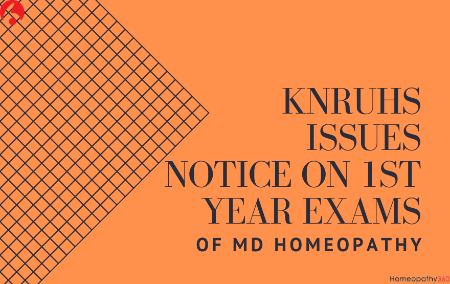 KNRUHS Issues Notice On 1st Year Exams Of MD Homeopathy